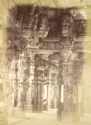 Sculptured pillars in the interior of the Vitthala Temple, Vijayanagara 1387